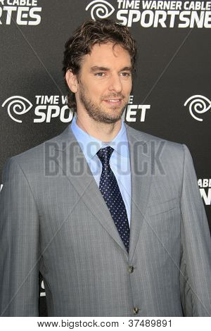 LOS ANGELES - OCT 30:  Pau Gasol arrives at the Time Warner Sports Launch of TWC Sportsnet at TWC Sports Studios on October 30, 2012 in El Segundo, CA