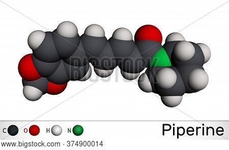 Piperine, C17h19no3 Molecule. It Is Alkaloid Isolated From The Plant Piper Nigrum. It Has Role As Pl