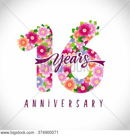 16 Th Anniversary Numbers. 16 Years Old Logotype. Floral Pink Congrats. Isolated Abstract Graphic De
