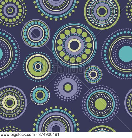Seamless Abstract Pattern Green, Yellow And Turquoise Circles And Dots On Dark Blue. Kaleidoscope Ba