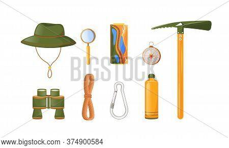 Climbing Equipment Flat Color Vector Objects Set. Trekking, Hiking And Climbing Gear. Binocular. Ice