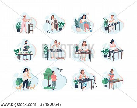 Pastime Activity Flat Color Vector Faceless Characters Set. Class On Musical Instrument. Photography