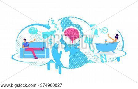 Procrastination, Delayed Tasks Flat Concept Vector Illustration. Avoidance To External Stimuli. 2d C