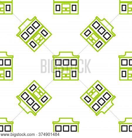 Line Wild West Saloon Icon Isolated Seamless Pattern On White Background. Old West Building. Vector