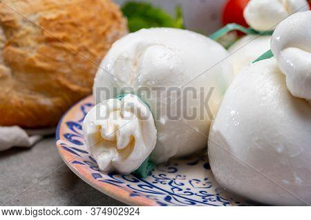 Cheese Collection, Fresh Soft Handmade Italian Cheese From Puglia, White Balls Of Burrata Or Burrati