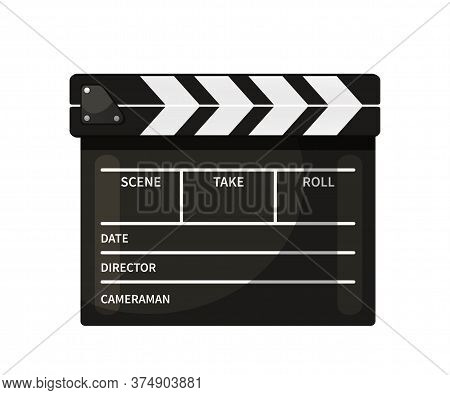 Clapperboard Vector Illustration. Black And White Closed Movie Slate Isolated Clipart On White Backg