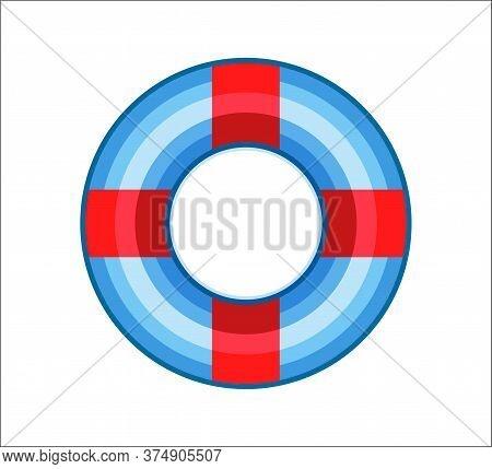 Inflatable Rubber Ring For Pool, Sea, Ocean Swimming Isolated On White Background. Summer Vacation A