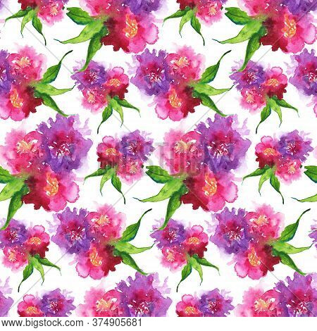 Watercolor Pink Purple Flower Floral Peony Rose Carnation Leaf Seamless Pattern Texture Background