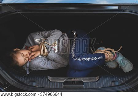 Captive Of Hickey Kids Teenager In Car Trunk. Slave Girl Child Tied Up. Abduction Of Children. Kidna