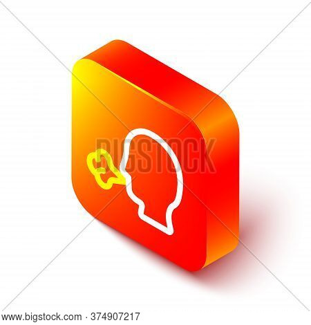 Isometric Line Man Coughing Icon Isolated On White Background. Viral Infection, Influenza, Flu, Cold