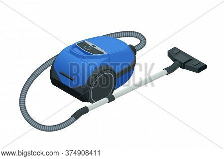 Isometric Vacuum Cleaner Isolated On White Background. Blue Vacuum Cleaner. Cleaning Service Concept