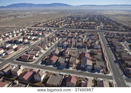 Suburban subdivision aerial in Albuquerque, New Mexico USA.