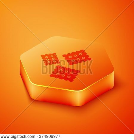 Isometric Cracker Biscuit Icon Isolated On Orange Background. Sweet Cookie. Orange Hexagon Button. V