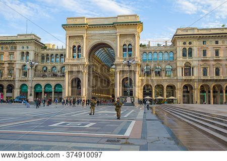 Milan, Italy - September 18, 2017: View Of The Gallery Of Victor Emmanuel Ii On A September Morning