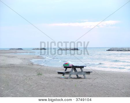 Picnic Table On The Beach
