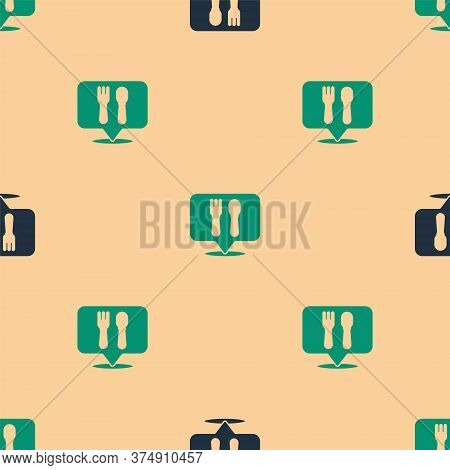 Green And Black Cafe And Restaurant Location Icon Isolated Seamless Pattern On Beige Background. For