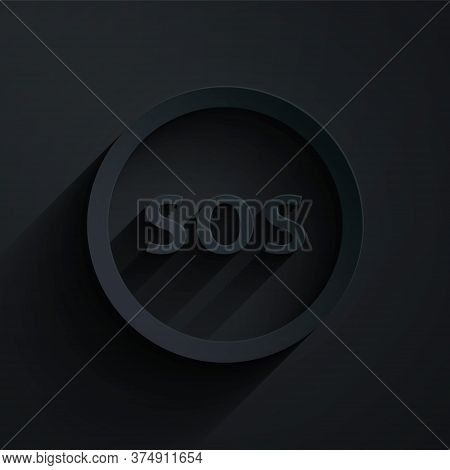 Paper Cut Location With Sos Icon Isolated On Black Background. Sos Call Marker. Map Pointer Sign. Pa