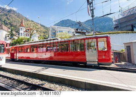 Vitznau, Switzerland - April 20, 2014:  Railway Station For Trip From Lake Lucerne Shore To Mount Ri