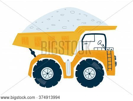Yellow Dump Truck Isolated On A White Background In Flat Style. Icons Kids Cars For Design Of Childr