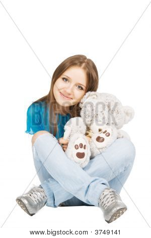 Pretty Girl With Bear-toy