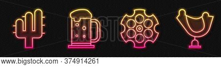 Set Line Revolver Cylinder, Cactus, Wooden Beer Mug And Wild West Saddle. Glowing Neon Icon. Vector
