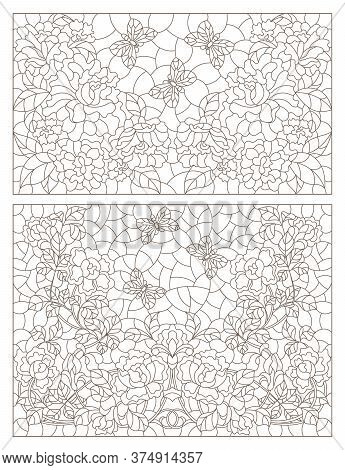 Set Of Contour Illustrations Of Stained Glass Windows With Roses And Butterflies, Dark Outlines On A