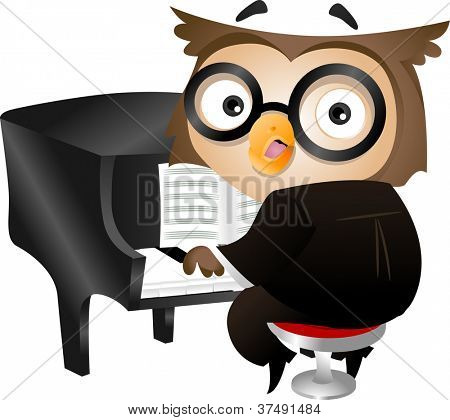 Illustration of a Nerdy Owl Playing the Piano