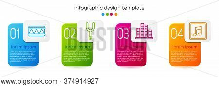 Set Line Drum, Musical Tuning Fork, Music Equalizer And Music Note, Tone. Business Infographic Templ
