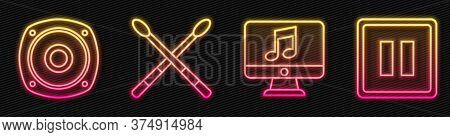 Set Line Computer With Music Note, Stereo Speaker, Drum Sticks And Pause Button. Glowing Neon Icon.