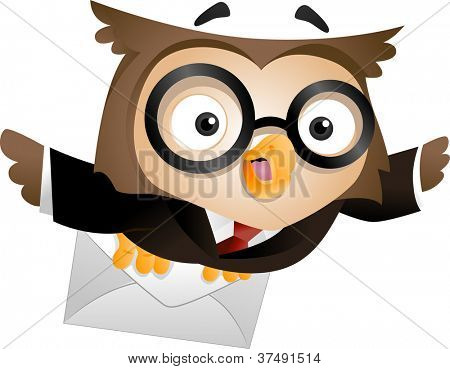Illustration of an Owl Carrying a Sealed Letter