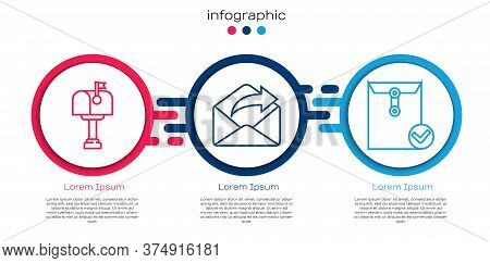 Set Line Mail Box, Outgoing Mail And Envelope And Check Mark. Business Infographic Template. Vector