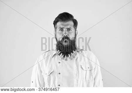 Unbelievable Face Expression. Male Bearded Face Close Up. Handsome Face. Facial Hair. No Way. Stress