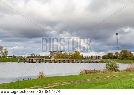 Old Abandoned Dutch Powerstation Ijsselcentrale Along The Ijssel River Near Zwolle, Overijssel In Th