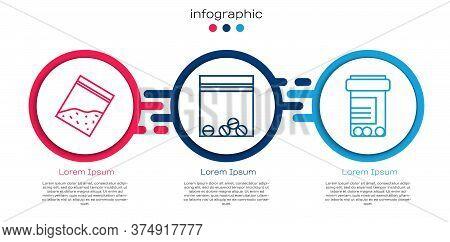 Set Line Plastic Bag Of Drug, Plastic Bag Of Drug And Medicine Bottle And Pills. Business Infographi