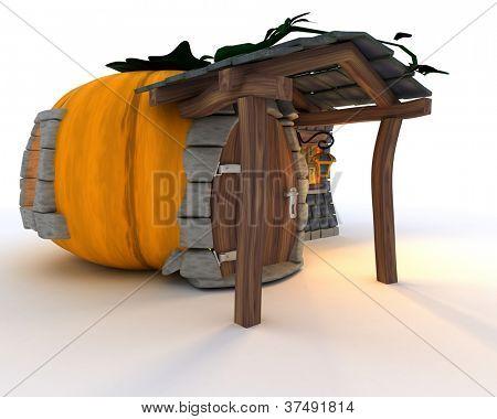 3D Render of Halloween Pumpkin Cottage