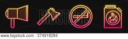Set Line No Smoking, Megaphone, Firefighter Axe And Canister For Flammable Liquids. Glowing Neon Ico