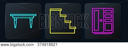 Set Line Wooden Table, Wardrobe And Staircase. Black Square Button. Vector