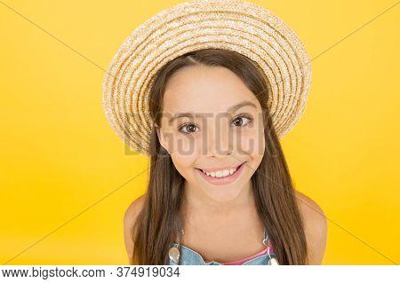 Enjoying Her Summer Vacation. Kid Seasonal Fashion. Carefree Beauty At Yellow Wall. Smiling Kid In S