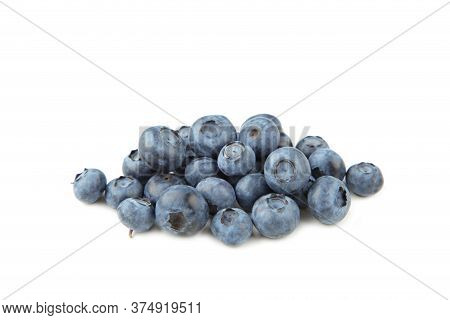 Tasty Blueberries Isolated On White Background. Blueberries Are Antioxidant Organic Superfood. Top V
