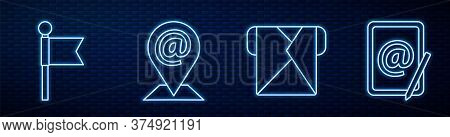 Set Line Envelope, Location Marker, Location And Mail And E-mail And Mail And E-mail. Glowing Neon I