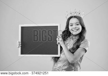 Happy Childhood. Cheerful Princess Hold School Blackboard. School Of Success. School Prom Party Adve