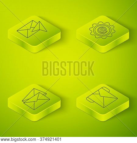 Set Isometric Mail And E-mail, Envelope, Envelope And Envelope Icon. Vector