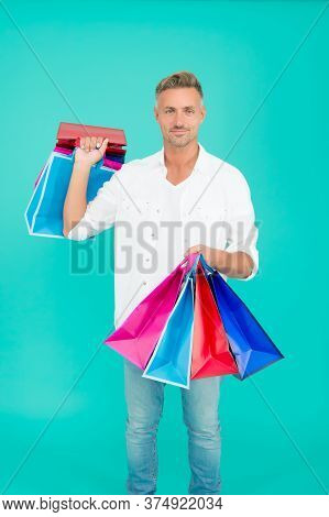 Handsome Buyer. Free Shipping. Mature Man Hold Shopping Bags. Cyber Monday Sale. Retail Concept. Hap