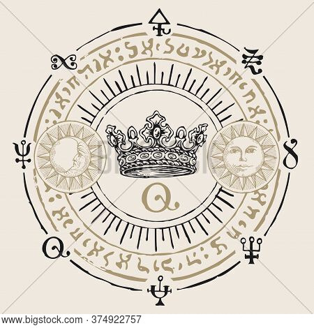 Hand-drawn Crown And Magical Symbols In Retro Style. Vector Banner With Sun, Moon, Esoteric And Magi