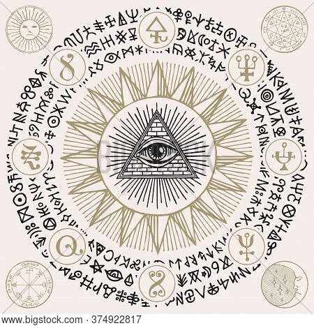Illustration With An All-seeing Eye, Alchemical And Masonic Symbols. Hand-drawn Vector Banner With A