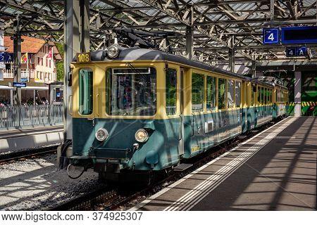 Lauterbrunnen, Berner Oberland, Switzerland - July 29 2019 : Old Train Of Wengernalpbahn (wab) At Th