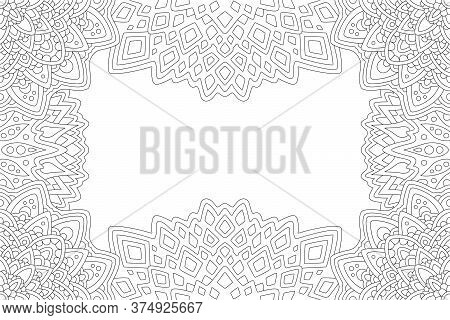 Beautiful Monochrome Linear Illustration For Adult Coloring Book With Rectangle Abstract Eastern Bor