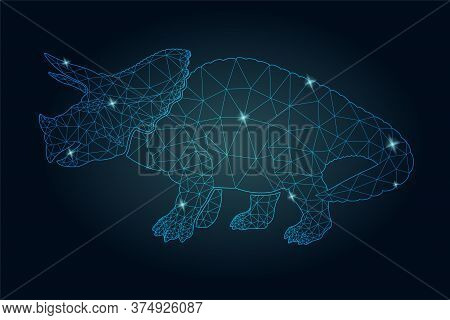 Beautiful Starry Low Poly Illustration With Shiny Blue Triceratops Silhouette On The Dark Background