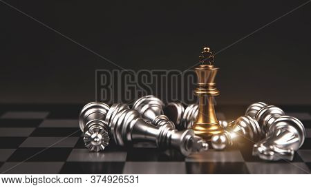 King Golden Chess Standing In The Middle Of The Falling Silver On Chess Board Concepts Of Leadership