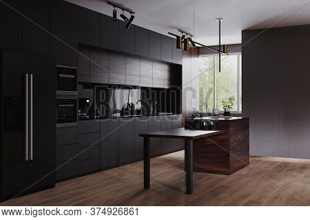 Modern Dark Kitchen And Dinning Room Interior With Furniture And Kitchenware, Grey, Black And Dark W